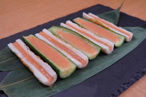 ちくわときゅうりの酢味噌明太のせ